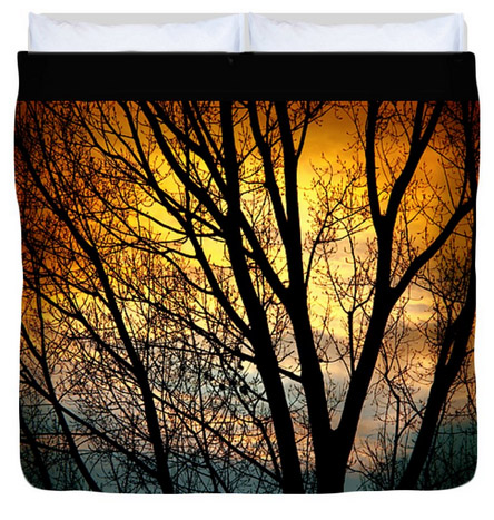 Colorful Sunset Silhouette King Duvet Cover