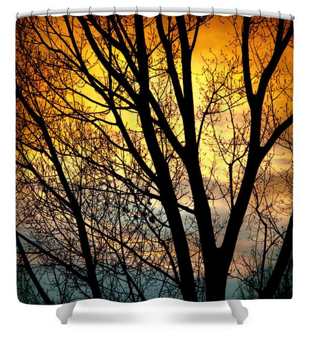 Colorful Sunset Silhouette Shower Curtain