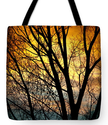 "Colorful Sunset Silhouette Tote Bag 18"" x 18"""