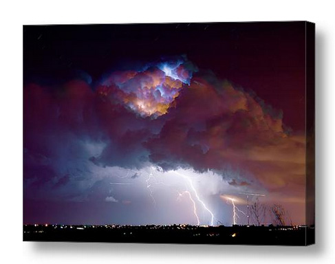 Lightning Thunderstorm Over Dacona Canvas Print