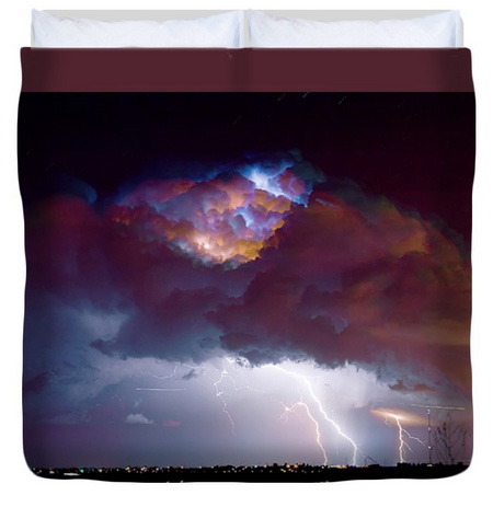 Lightning Thunderstorm Over Dacona King Duvet Cover