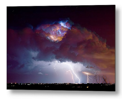Lightning Thunderstorm Over Dacona Metal Print