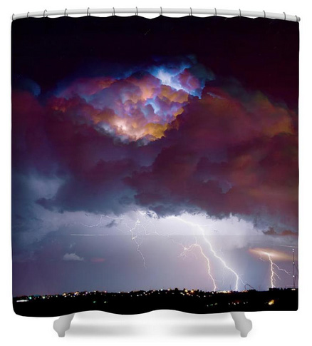 Lightning Thunderstorm Over Dacona Shower Curtain
