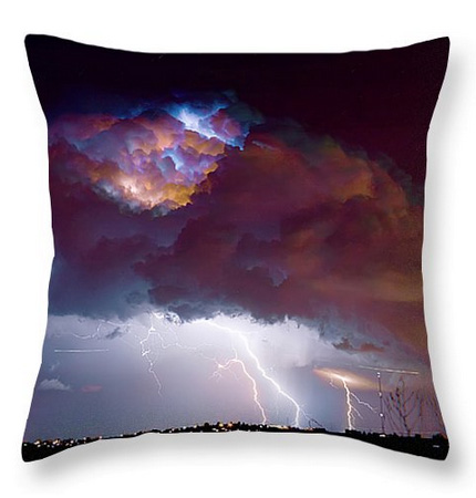 "Lightning Thunderstorm Over Dacona Throw Pillow 20"" x 20"""