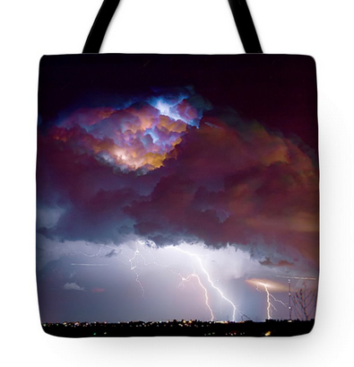 "Lightning Thunderstorm Over Dacona Tote Bag 18"" x 18"""