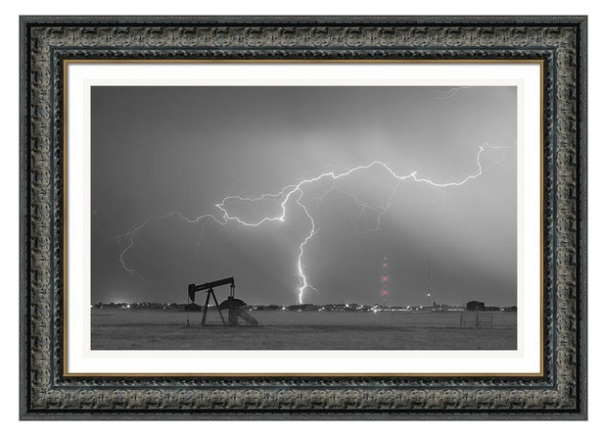 Oil Fields Lightning Thunderstorm Bwsc Framed Print