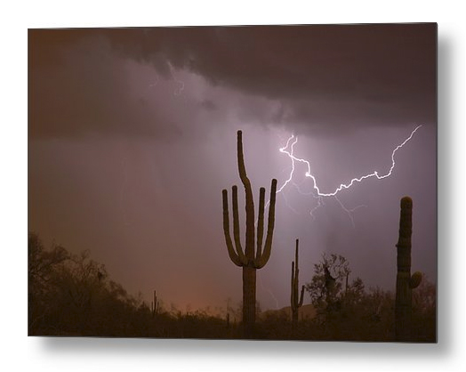 Saguaro Southwest Desert Lightning Air Strike Metal Print