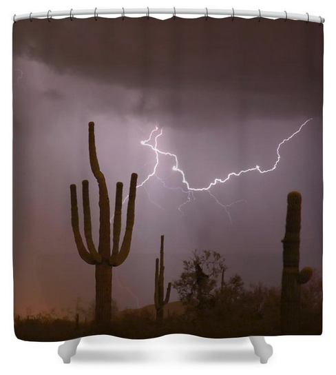 Saguaro Southwest Desert Lightning Air Strike Shower Curtain