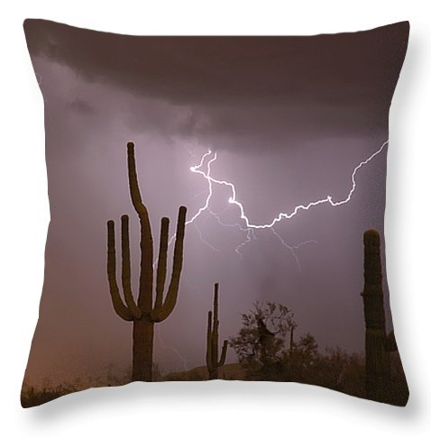 "Saguaro Southwest Desert Lightning Air Strike Throw Pillow 20"" x"
