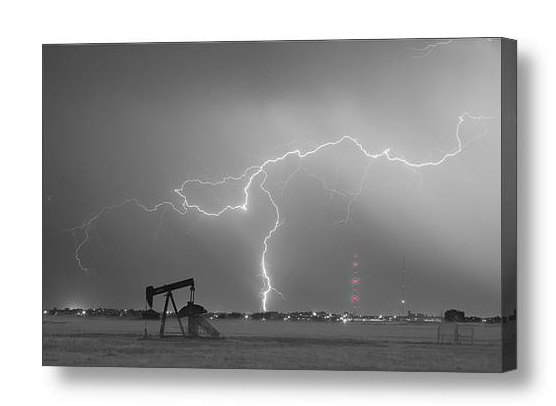 Weld County Dacona Oil Fields Lightning Thunderstorm Bwsc Canvas