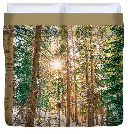 Winter Forest Sunshine King Duvet Cover